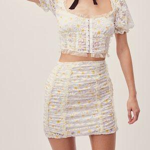 NWT For Love and Lemons Brulee Daisy Mini Skirt